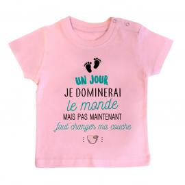 T-shirt bébé Faut changer ma couche