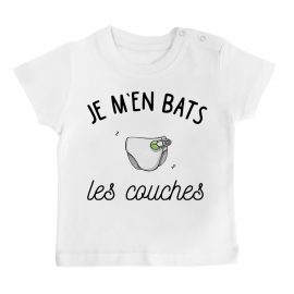 T-shirt bébé J'men bats les couches