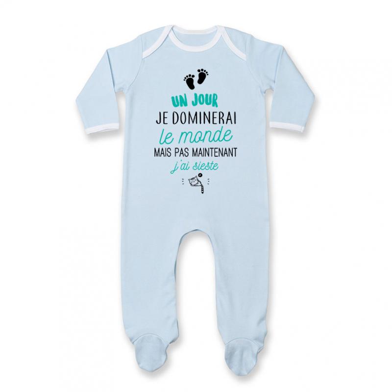 Pyjama bébé Pas maintenant j'ai sieste
