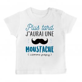 T-shirt bébé Une moustache comme papy