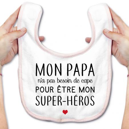 Bavoir bébé Mon papa / super-héros