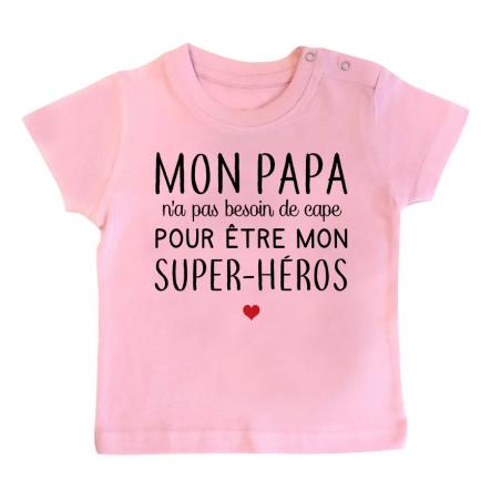 T-Shirt bébé Mon papa / super-héros