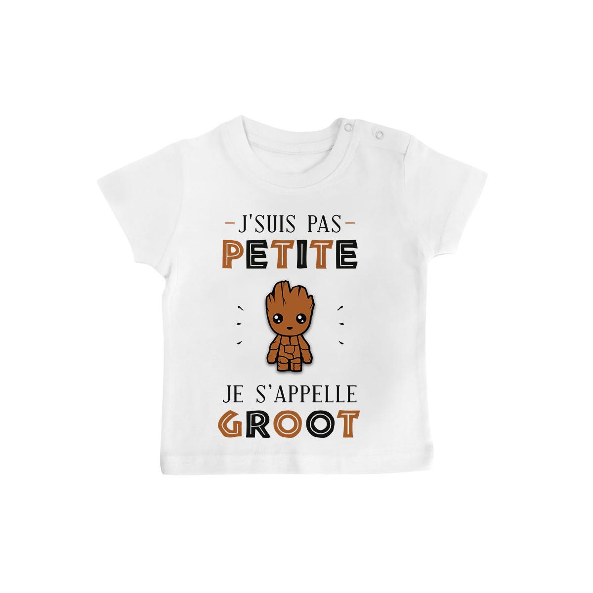 T-shirt bébé J'suis Pas Petite Je S'appelle GROOT