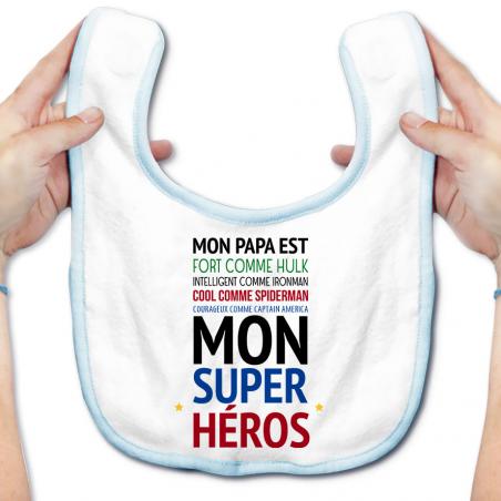 """Bavoir bébé Mon papa est """" mon super héros """""""