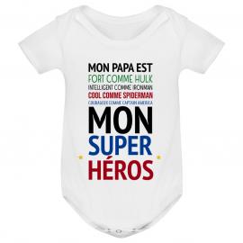 """Body bébé Mon papa est """" mon super héros """""""