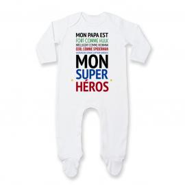 """Pyjama bébé Mon papa est """" mon super héros """""""