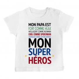 """T-shirt bébé Mon papa est """" mon super héros """""""