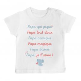 T-shirt bébé Papa je t'aime
