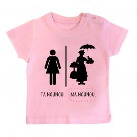 T-shirt bébé Ta nounou - ma nounou
