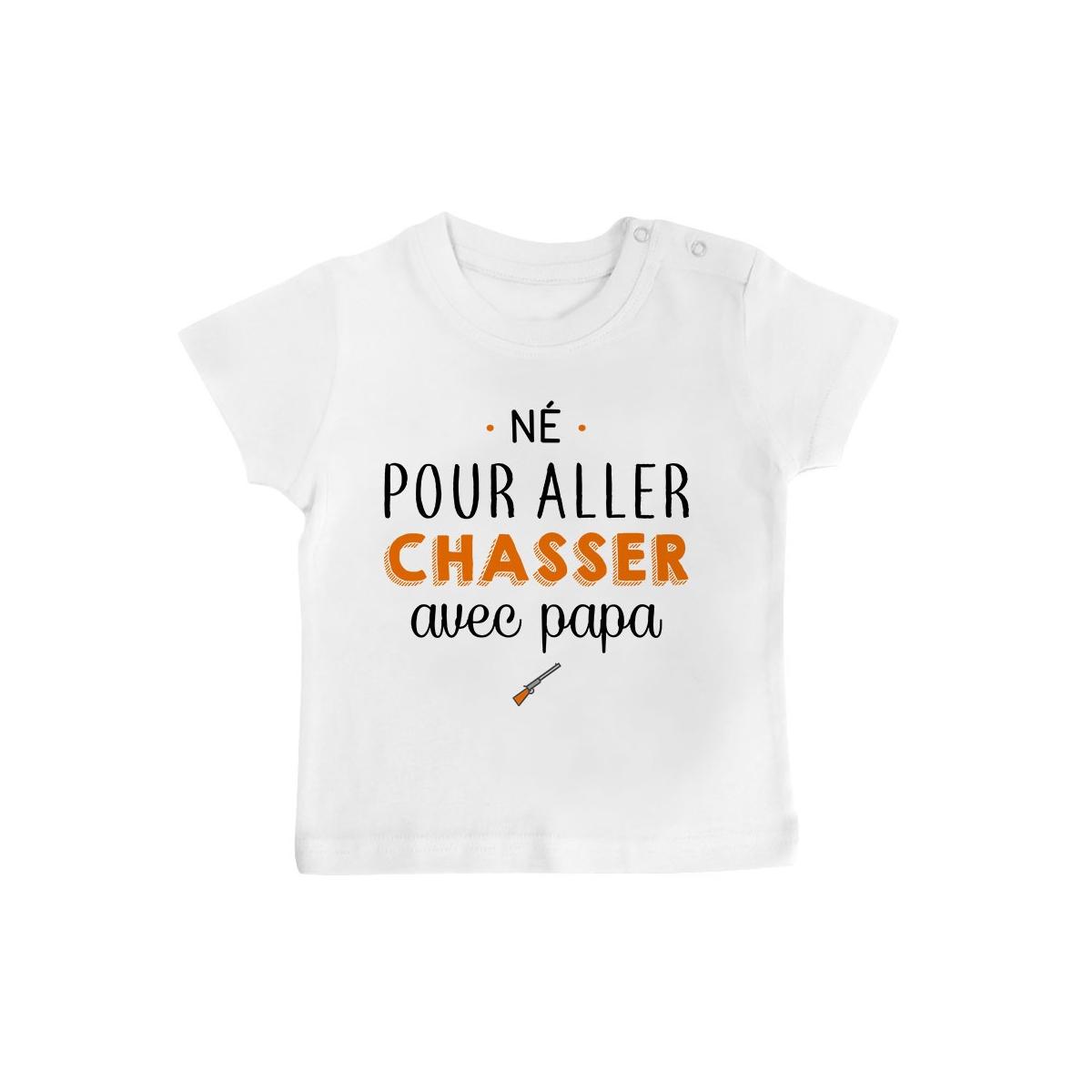 T-Shirt bébé Né pour aller chasser avec papa