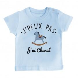 T-Shirt bébé J'peux pas j'ai Cheval