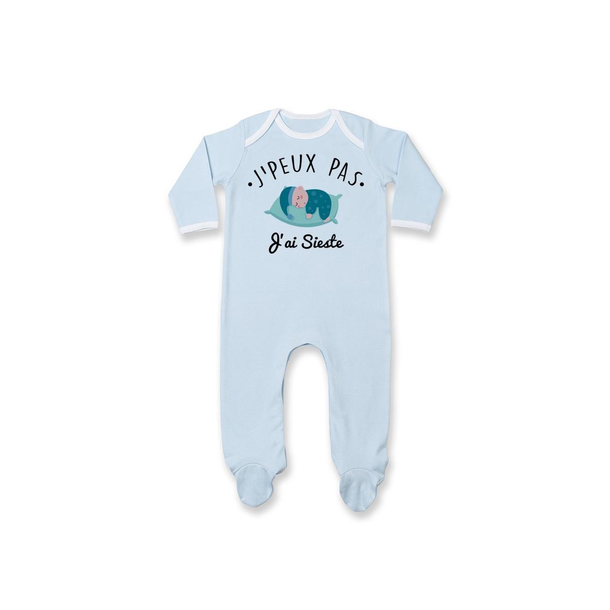 Pyjama bébé J'peux pas j'ai sieste ( version garçon )